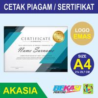 Cetak Piagam A4 Fancy Paper Akasia + Poly Emas Logo Instansi