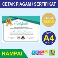 Cetak Piagam A4 Fancy Paper Kertas Rampai + Poly Emas Logo