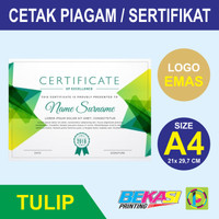 Cetak Piagam A4 Fancy Paper Tulip + Poly Emas Logo Instansi
