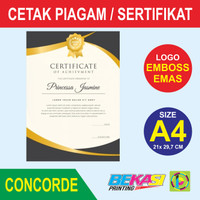 Cetak Piagam A4 Fancy Paper Concorde + Logo Poly Emas & Emboss