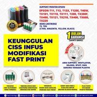Fast Print CISS Infus Modifikasi Epson TX600 Plus Tinta