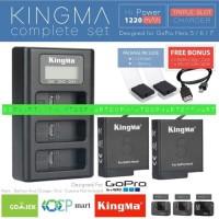 Baterai battery Gopro hero 7 Hero 6 Hero 5 Black + Dual Charger Kingma
