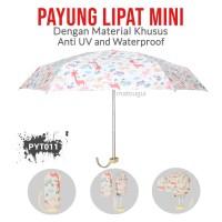 Payung Lipat PYT011 Hewan Putih Mini Premium Anti UV dan Waterproof