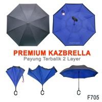 Payung Terbalik F705 Biru Impor Peralatan Hujan Reverse Umbre Gagang C
