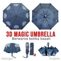 Payung Magic 3D PY3809A Biru warna polos ketika kering