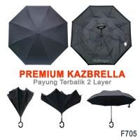 Payung Terbalik Lipat Upside Down Anti Hujan F705 Hitam
