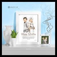 Special Desain Sketsa Pensil Wajah A4 Couple Kado Wisuda / Nikah /