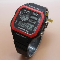 New Jam Tangan Pria & Wanita Qq Qnq Q&Q World Time Black Red