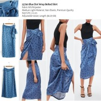 25790 Blue Dot Wrap Belted Skirt