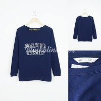 "Sweater H&M ""Bounjour Cherish"" Sablon Biru"