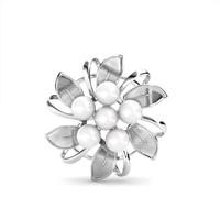 Dahlia Pearl Scarf Ring -Ring Scarf Crystal Swarovski by Her Jewellery
