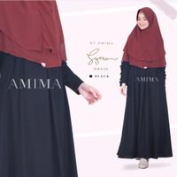Syera Dress Black Hitam XL by Amima Gamis Only katun madina adem polos