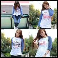 New Kaos Raglan Wanita Lengan Panjang Baju Cewek Keren T Shirt Distro