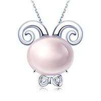 Tiaria 18K Pink Crystal Goat Perhiasan Liontin Emas dan Berlian