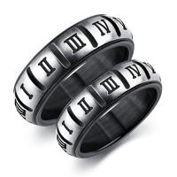 Punk Titanium Steel Lovers Black Roman Digital Couple Ring