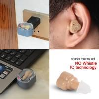 Mini Alat Bantu Dengar Pendengaran Jernih Lama USB Kotak Cas Charger
