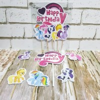 Cake Happy Birthday My Little Pony/ Cake Topper Pony/ Hiasan Kue