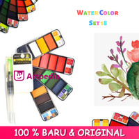 Superior Watercolor Cake Set 18 / Watercolor 18 Warna / Cat Air