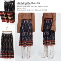 25863 Black Red Chain Pleated Skirt