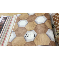Wallpaper Dinding Motif Kotak Kayu Hitam Coklat 3D