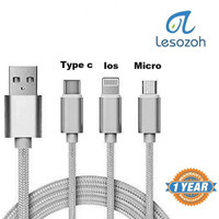 LESOZOH UT3-10 3 in 1 3A Nylon Braided Charge Cable