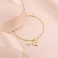 Bauble bible Liv monogram bracelet perhiasan gelang inisial lapis emas
