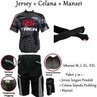 Kaos Baju Jersey Giant Hitam Pendek Plus Celana Sepeda Bonus Manset - Hitam, XXL