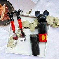 Sendok garpu Mickey mouse - sendok set Minnie - Mickey spoon with case