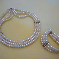 Xuping pearl necklace & bracelet set