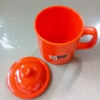 Gelas Mug Gagang Tutup 360ml Orange Melamine - Golden Dragon B0203C