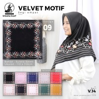 VELVET MOTIF A09 Umama Jilbab Satin Hijab Kerudung Scarf Segi Empat
