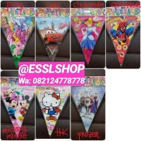 Bunting Flag Segitiga Karakter Cars/Frozen/Spiderman/HK/Mickey/Minnie