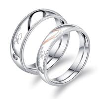 Cincin Couple Titanium Ukir Nama (Stainless Steel 316L) Half Love