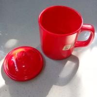 Gelas Mug Gagang Tutup 360ml Merah Melamine - Golden Dragon B0203C