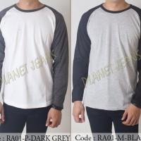 Sale Baju Kaos Polos Tangan Panjang Raglan Cowok / Kaus Polosan Lengan