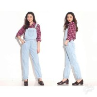 Promo Jumpsuit Jeans Wanita Overall Playsuit High Quality - Biru Muda