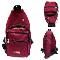 Tas Motor Sling bag Kanvas Rizo red
