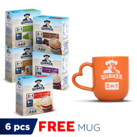 Quaker 3 in 1 Mix Variants 4 Sachets - 5 Pcs FREE Quaker Mug