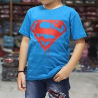 kaos distro anak murah   supermen blue baru   baju kaos anak laki laki