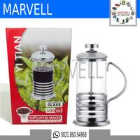 Penyaring Ampas Teh/Kopi French Press Plunger Coffee/Tea Maker 600 ML