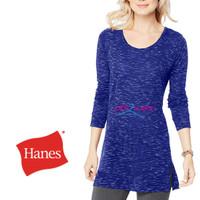 Hanes T-shirt Tunic Lightweight kaos Tangan Panjang Blue