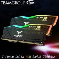 Memory Ram TEAM T-Force Delta RGB (2x4) 8GB DDR4 kit 2666MHz - Black