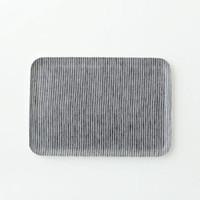 Linen Tray Grey White Stripe M