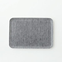 Linen Tray Grey White Stripe S