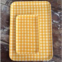 Linen Tray Yellow Check S