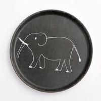 Kids Tray Round Elephant Black