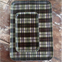 Linen Tray Green Plaid S