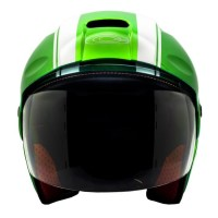 Promo Cargloss Ycb Line Two Helm Half Face - White Vivid Green - Hijau