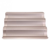 Cetakan French Bread Pan Baguette Baking Tray Perforated 3slot Non