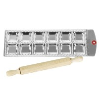 Cetakan 12 Square Ravioli Molding Tray Set With a Wooden Rolling Pin